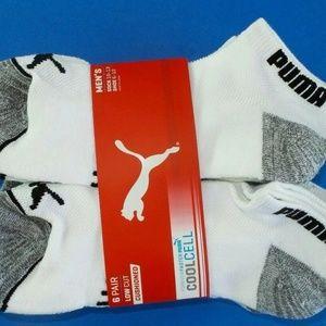 Puma Men's Low Cut Socks 10-13 Large 6 Pack White